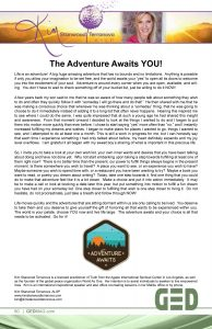 Adventure Awaits. GED Featured Columnist article